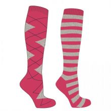 MARK TODD LONG ARGYLE/STRIPE SOCKS - FUCHSIA/GREY   - RRP £12.99
